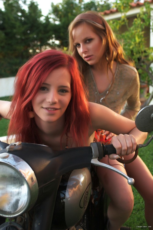 redhead motorcycles on Nude girls